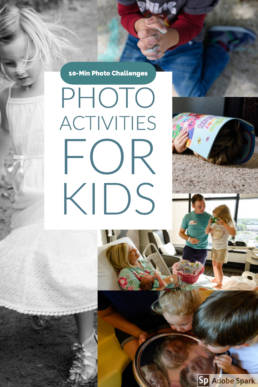 Collage and title image for 10-min photo challenges for kids