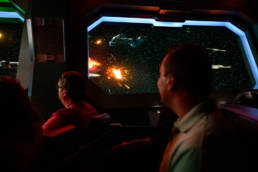 an epic space battle takes place in the immersive Rise of the Resistance ride