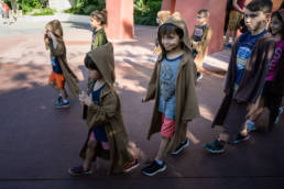 boys walk to the temple for Jedi Training