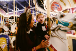 mother and daughter on Prince Charming's Carousel
