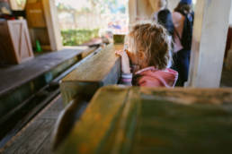 girl awaits Barnstormer rollercoaster