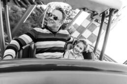 father and daughter enjoy Barnstormer rollercoaster