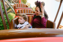 Mother and son ride rollercoaster in Magic Kingdom