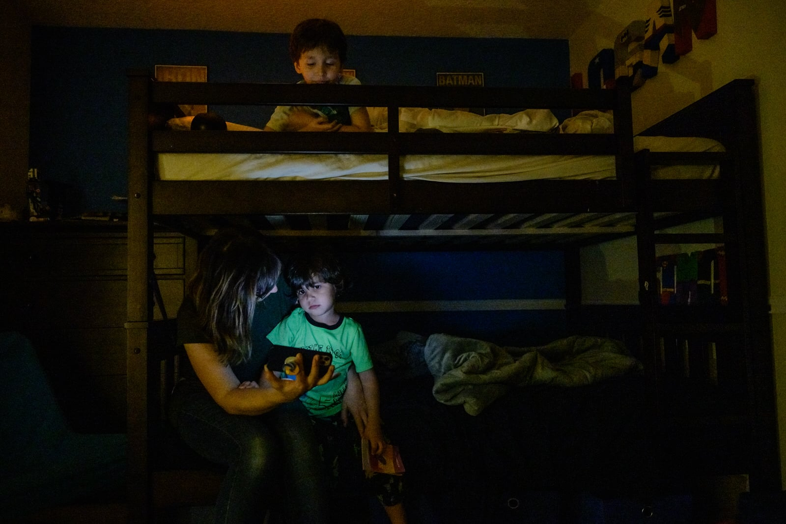 mom does nightly bedtime routine with kids