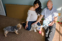 parents-to-be play with the dogs in the nursery