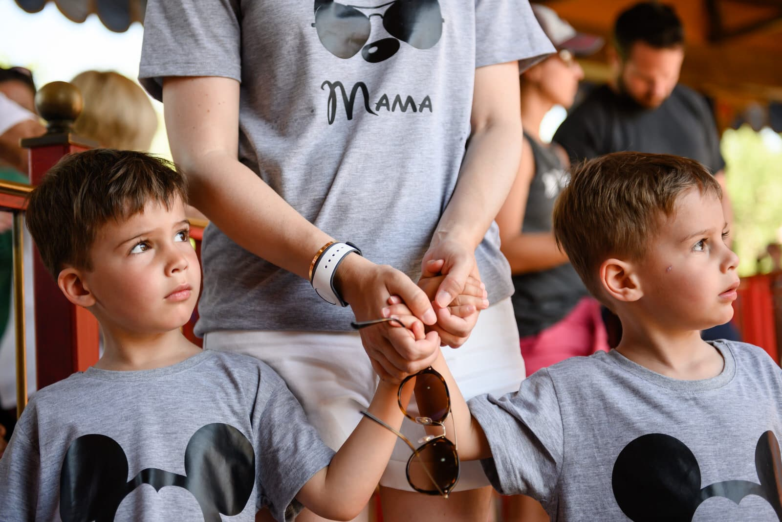mom reassures boys before riding Dumbo for the first time
