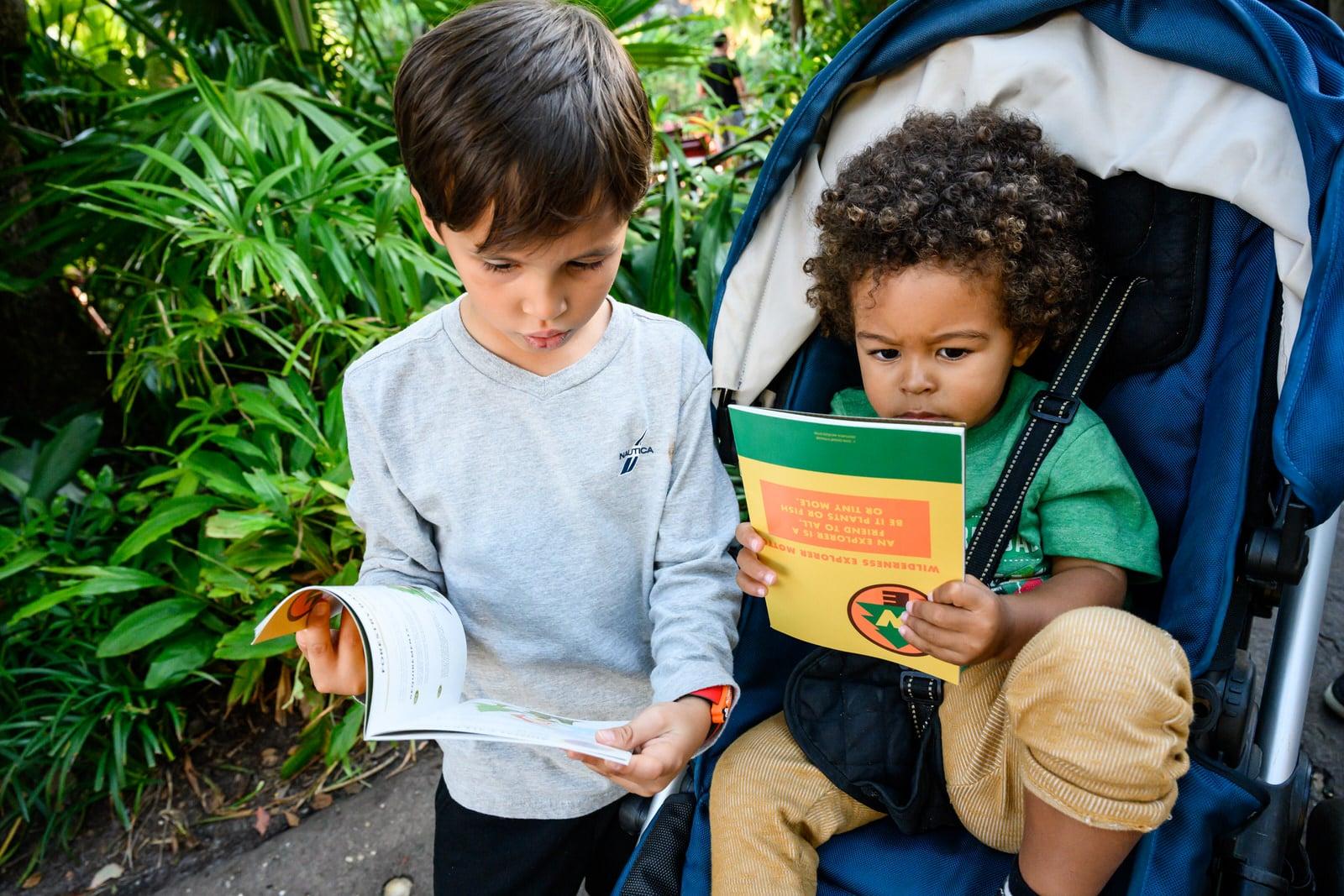 boys look at Wilderness Books at Animal Kingdom