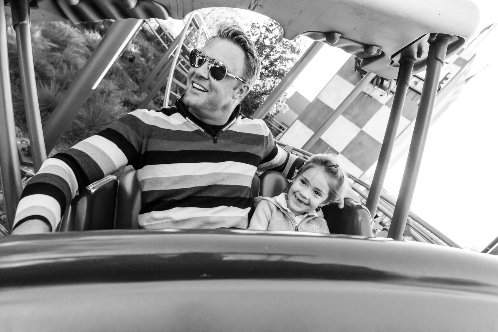 father and daughter ride Barnstormer
