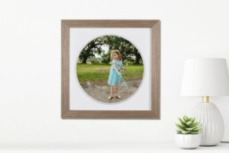 torn edge circular framed print