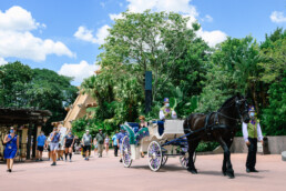 Queen Anna makes an appearance in carriage at EPCOT