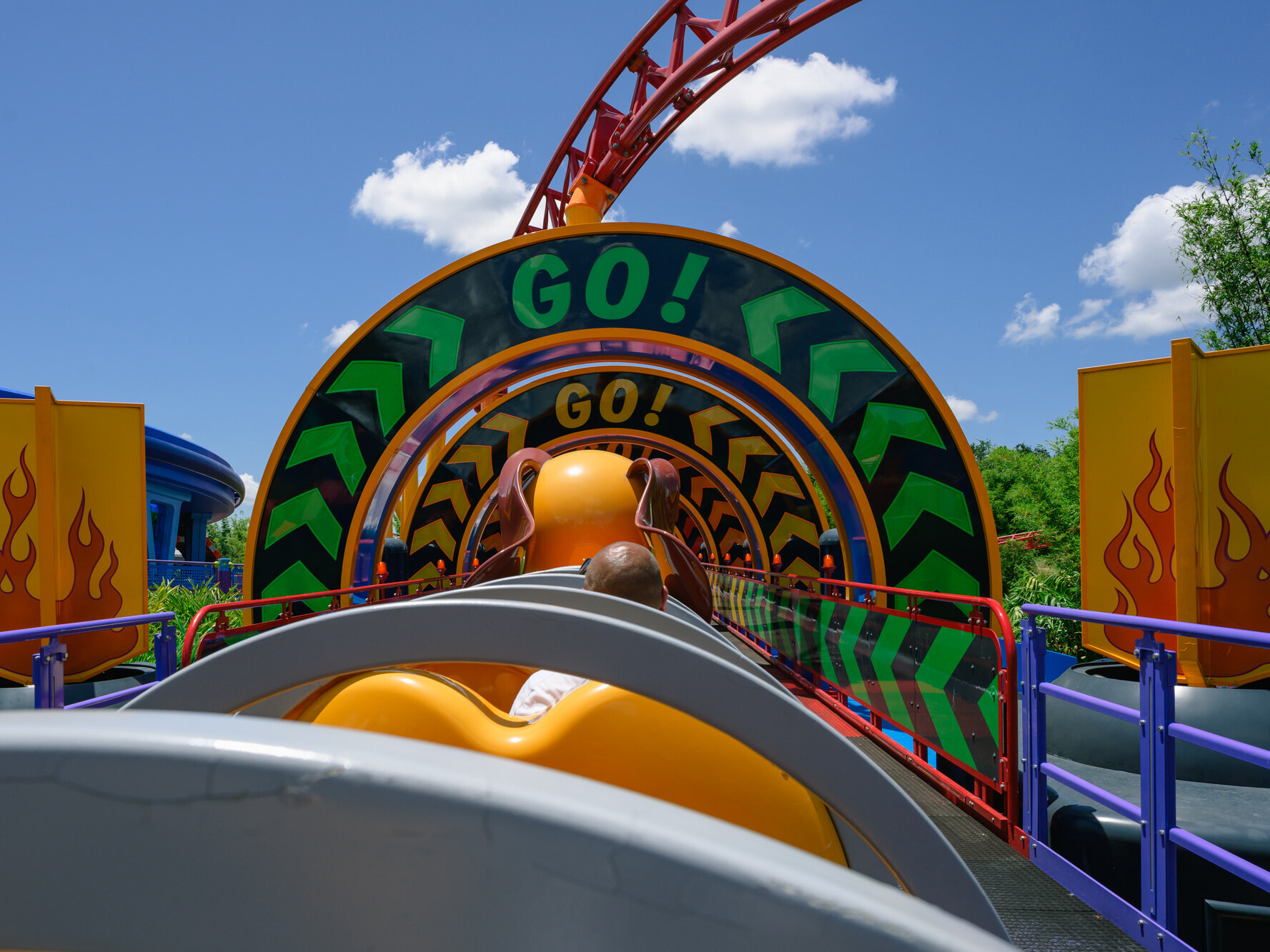 empty train car on Slinky Dog during the pandemic