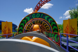 empty train car on Slinky Dog