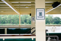social distancing signs on the ferry boat to Magic Kingdom