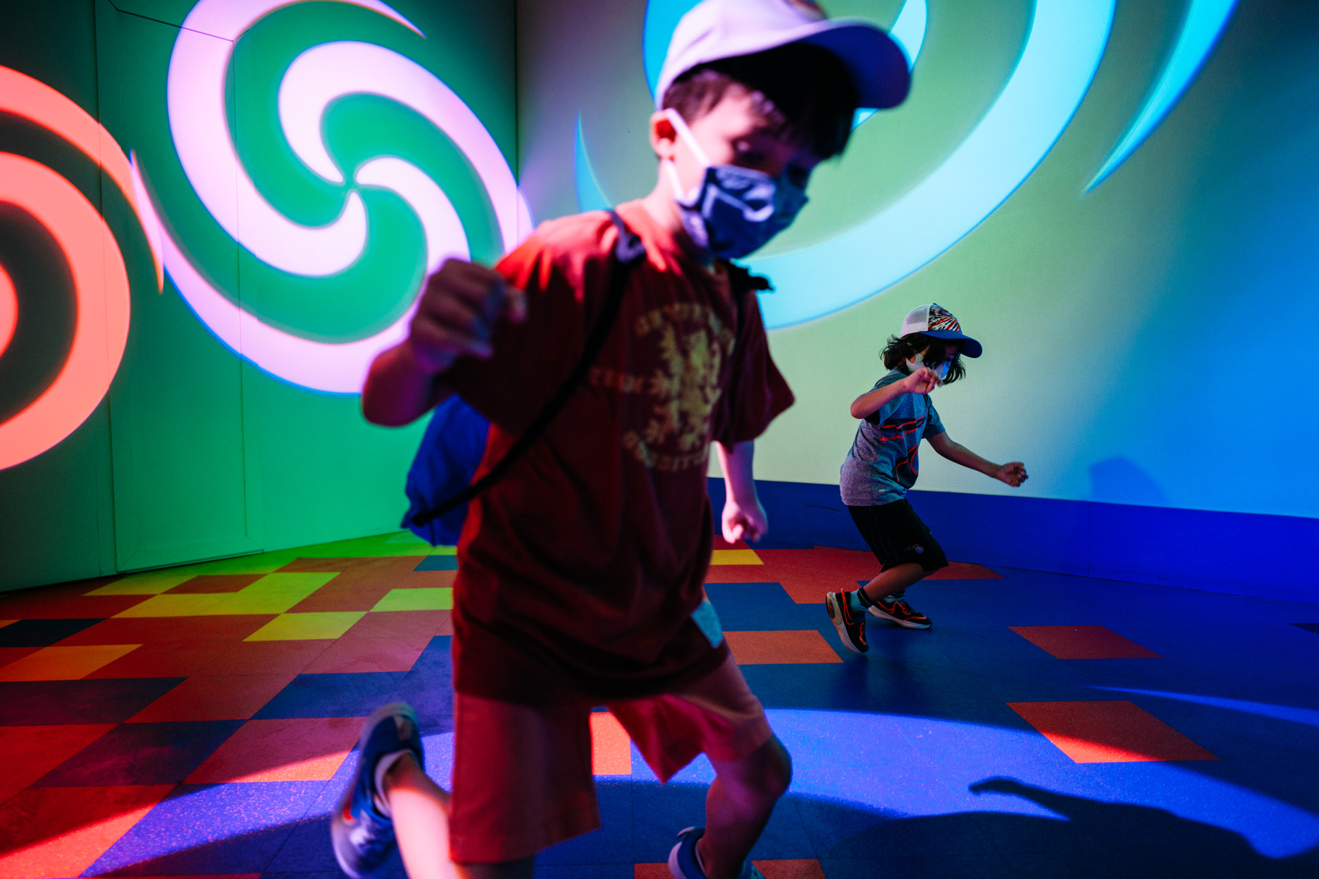 boys play inside world of imagination with masks on